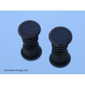 PAIR OF VINTAGE HANDLEBAR PLUGS plastishe Cassano Black
